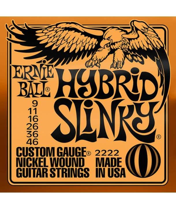 Juego Cuerdas Guitarra Eléctrica Ernie Ball 2222 Hybrid Slinky